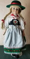 Porcelain Doll in Ethnic Traditional Clothing Beautiful Blonde Girl w Stand 17""