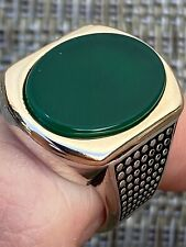 Solid 10k Gold & 925 Sterling Silver Green Agate Mens LARGE Ring Size 7-13 Pinky