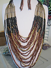 Multi Layers Brown Black Glass Seed Bead Long Necklace Earring Set