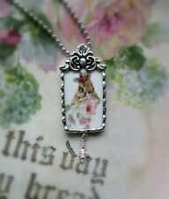 Vintage Recycled Broken China~Sweet Bunny in the Roses~Pendant~Ornate Metal
