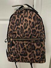 NWT Michael Kors Leopard Print Kelsey Backpack Large BRSCTCH MLTI  Black Gold