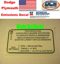 1970 Dart Swinger Duster 340 4bbl Early Emissions Decal NEW MoPar USA