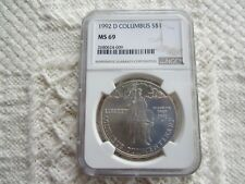 1992 D Columbus Commemorative Silver Dollar NGC MS69