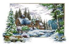 Free shipping needlework winter 14 counted aida landscape cross stitch kit J070