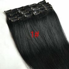 "New Hot 20"" Clip in on Real Human Hair Extensions Black Brown Blonde Red 70g"