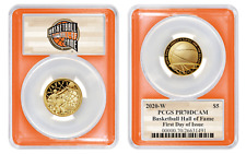 2020 W BASKETBALL HALL OF FAME GOLD DOLLAR $5 PCGS PR70DCAM FIRST DAY OF ISSUE