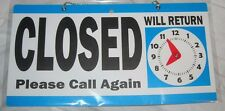 """Open Closed 6x11.5"""" Blue Business Office Door Sign Will Return Clock New Chain"""