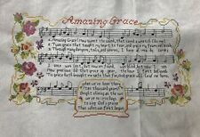 "cross stitch completed finished hand made ""Amazing Grace� Hymn Decoration"
