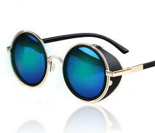 Blue Steampunk Sunglasses Vintage Retro Round Lens 50s Glasses Cyber Goggles