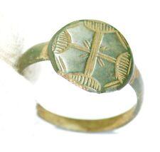 Authentic Medieval-Caballeros era-Bronce Anillo-Grabado MENORÁ Cross-jk52