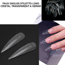 LOT FAUX ONGLES CAPSULES STILETTO POINTU CRISTAL TRANSPARENT EXTRA LONG