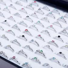 Woman Wholesale Lots 30pcs Rhinestone Assorted Silver Plated Ring Nice#AU