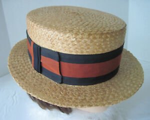 VINTAGE ANTIQUE MEN'S BOATER STRAW SKIMMER GATSBY HAT STRIPED BAND