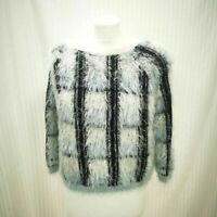 Womens River Island Blue White And Black Chequered Fluffy Jumper Size 10 Ladies