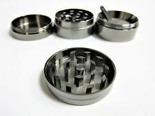 Chromium Crusher Grinder Herb 4 Pieces Handle Gunmetal 40mm eF03