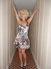 Sexy Lolita Gothic Rocker Pink & Black Satin Halter Club Bubble Mini Dress S 3