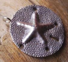 Silber Anhänger Seestern Sand Rund 3 cm Amulett Ethno Muster Matt Punkte Handarb