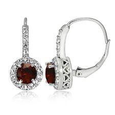Sterling Silver Garnet & White Topaz Round Leverback Earrings
