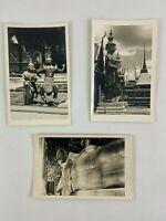 Reclining Buddha Temple Dancers Bangkok Thailand Vintage B&W Photograph Snapshot