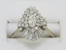 Vintage 2.00 CT.T.W.Marquise,Round & baguette Diamond 10K Gold over Cluster Ring