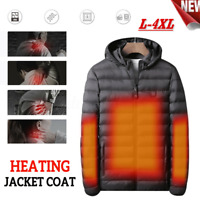 USB Men Electric Heated Coat Jacket Hooded Heating Vest Winter Thermal Warmer A+