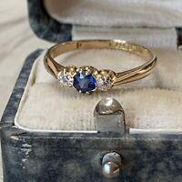 Antique Victorian 18ct Gold Sapphire & Old Cut Diamond Ring dates 1900, UK M