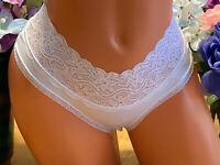 LINCERIA Stunning S White Wide Lace Waist Cheeky Tanga Bikini Panties NWOT