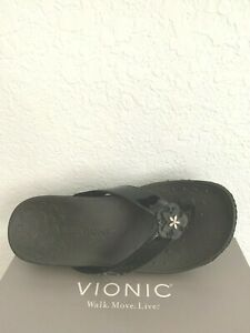 "NIB WOMEN VIONIC SANDALS/SHOES/ FOOTWEAR HIGH TIDE ""MIMI"" BLACK PLATFORM (9 WIDE"