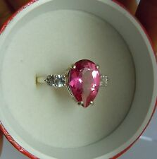 4ctw Mystic PINK Topaz PEAR with accent ring STERLING SILVER finger size 7