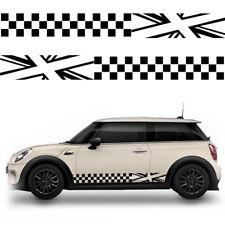 2X Full Size UK Union Flag Checker Car Stickers Universal Custom Decals Black
