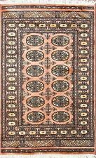 Traditional Hand Knotted Bokhara Area Rug Pink/Black Modern Rugs Size (2.5 x 4)