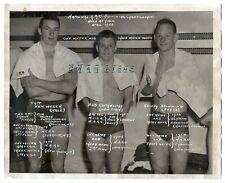 1954 AAU swimming photo, Olympic divers Bob Clotworthy, Skippy Browning, speedos