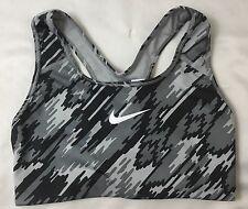 NIKE Women's Sports Bra Dri-Fit Black Gray 857860 Printed Size Small