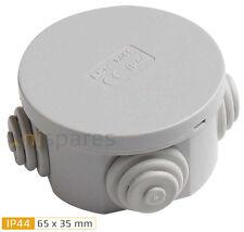 Round Electric IP44 Junction Box & Grommets Outdoor Garden Waterproof 65 x 35mm