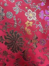 RED METALLIC FLORAL BROCADE FABRIC (60 in.) Sold By The Yard