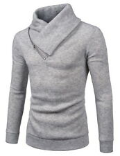 (NKKT731) TheLees Mens Slim Fleece Sweatshirt Turtleneck Pullover Knit Sweater