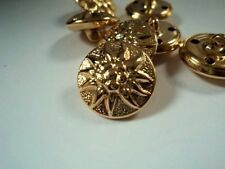 "6 ""STELLA ALPINA"" EDELWEISS FLOWER DESIGN Oro Bottoni in Metallo 18 mm"