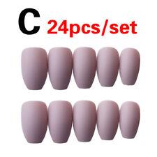 24Pcs/Set Solid Color Matte False Nails Frosted Full Cover Tips Glue Nail Art US