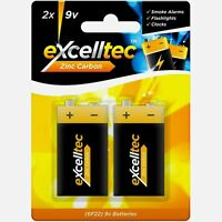 Pack of 2 Excelltec 9v Heavy Duty Zinc Carbon Batteries Smoke Alarm Clock