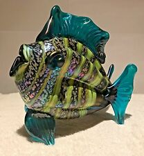 Rick Hunter Signed Hand Blown Glass Teal Fish with Lime Stripes 6.5 x 7.25 inch