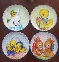 NEW (4) Mr Christmas EASTER Bunny Chick Salad Plates Spring Home Decor
