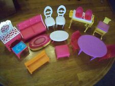 Barbie Furniture Lot of 14 Pieces Gently Used Tables~Chairs~Bench~Couch & More
