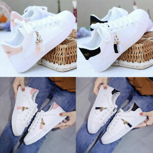 Womens Flats Trainers Ladies Embroidery Flip Sneaker Casual Skate Low Top Shoes