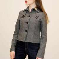 Womens GAP Tweed Jacket Size S 8 Wool Blazer Coat Peacoat Grey