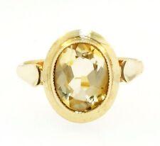 9 Quilates Oro Amarillo Oval citrino solitario rubover conjunto ANILLO (TAMAÑO P) 11x13mm cabeza