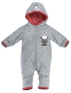 "BONDI Baby Fleece Overall ""Schäfchen"" 93524 Grau Jungen Winter Jacke Strampler"
