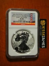 2012 S REVERSE PROOF SILVER EAGLE NGC PF70 EARLY RELEASES FROM SAN FRANCISCO SET
