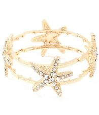 Textured Stretch Bracelet Goldtone/Clear Ocean Sea Life Cruise Starfish