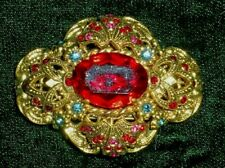 LOVELY VTG BROOCH FAUX RUBY SAPPHIRE, STAMPED GOLD TONE, W. GERMANY?