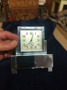 Art DECO chrome Clock, Henry Coehler Inc. Alarm and clock w music